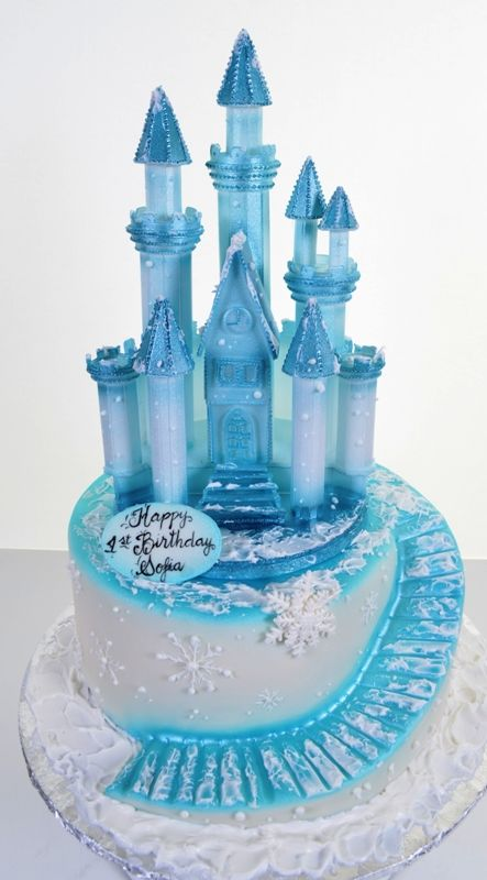 Magnificent 1533 Blue Ice Castle With Images Ice Castle Cake Castle Funny Birthday Cards Online Overcheapnameinfo