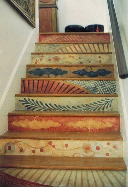 Bohemian Design Stairs. Various Designs Painted On Each Stair.