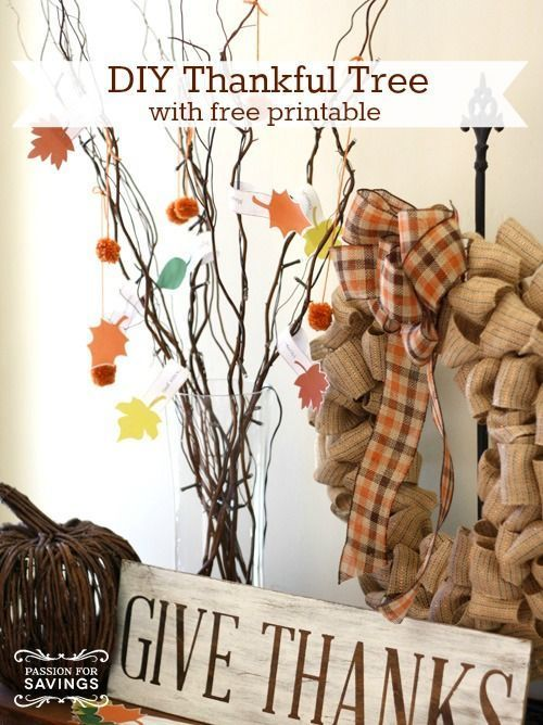 Thanksgiving Crafts for Kids | DIY Thankful Tree with FREE Printable! Fall Decor…, #Crafts…