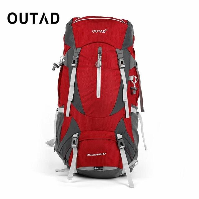 OUTAD 60+5L Outdoor Water Resistant Nylon Sport Backpack Hiking Bag Camping  Travel Pack Mountaineer Climbing Sightseeing Hike 8abc5a085b590