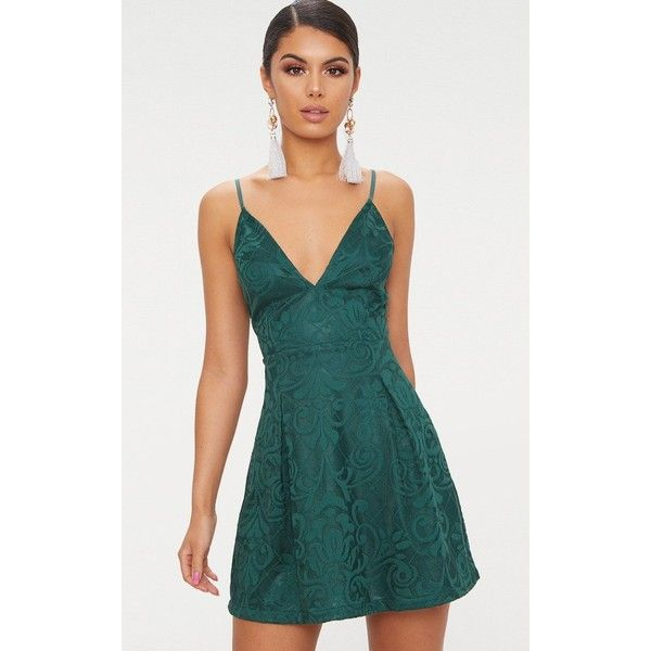 Emerald Green Lace Plunge Skater Dress ( 35) ❤ liked on Polyvore featuring  dresses 4a2db2008