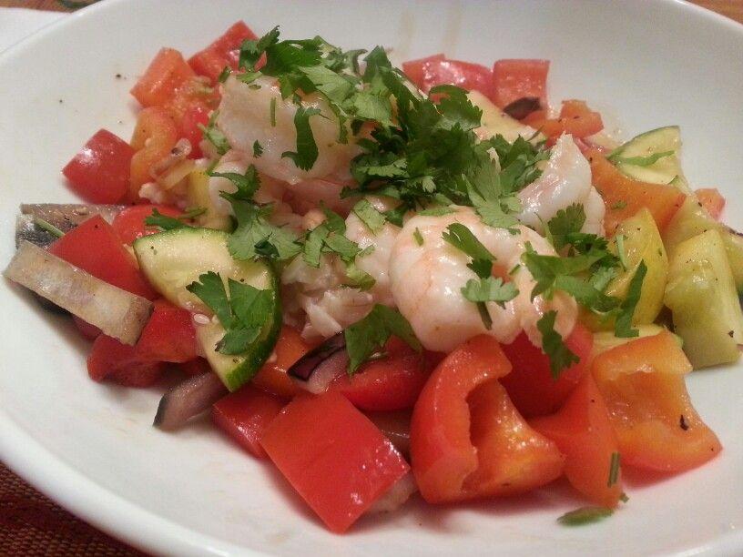 Pan seered veggies and shrimp