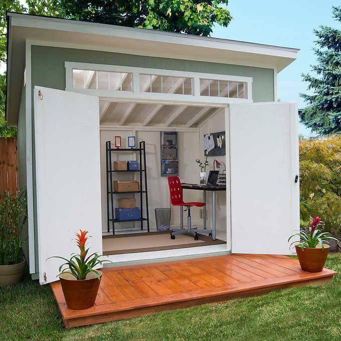 Aston 10 X 7 5 Wood Shed 565 Cubic Feet Of Storage W Floor Kit Ebay Gartenhaus Hinterhof Buro Schuppen Design