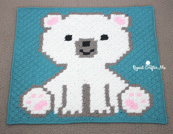 Polar Bear Cub Crochet C2C Blanket | Manta