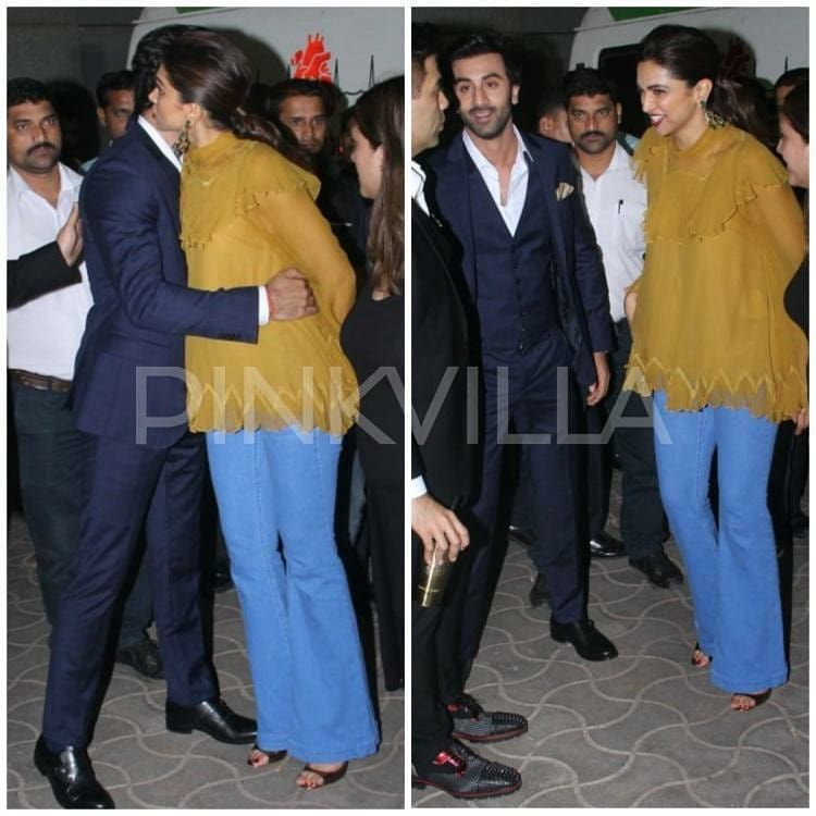 Ranbir Kapoor Deepika Padukone Hug And Laugh Their Hearts Out In These Latest Pictures Deepika Padukone Blue Three Piece Suit Ranbir Kapoor