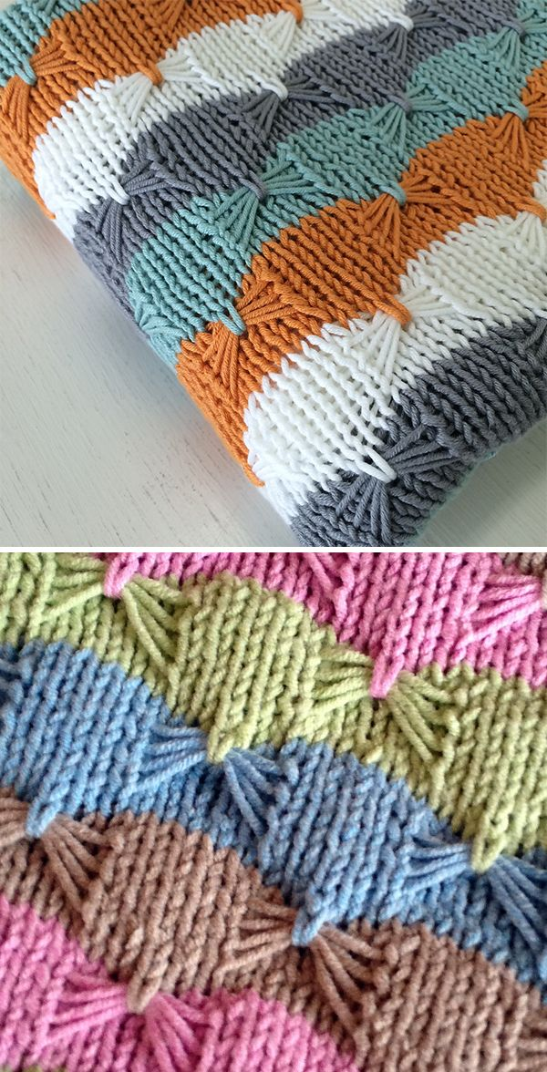Free Knitting Pattern For Easy Treetops Baby Blanket Striped Baby