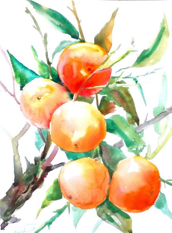 Oranges Original Watercolor Painting Orange Tree 12 X 9 In