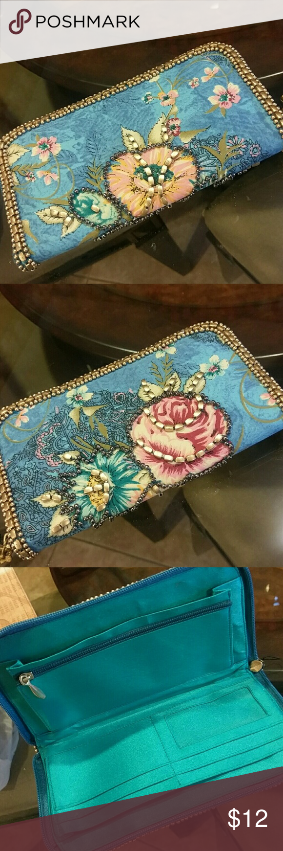 Women's wallet Blue with pink flowers outlined with grey beads. Lined with turquoise colored material. Never used!! Bags Wallets