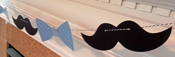 Party Banner: Little Man Bow Tie And Mustache Garland   Baby Shower Or  Birthday Party