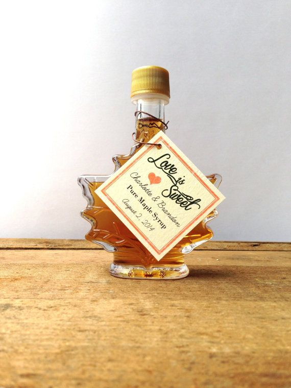 Unique Wedding Gifts Canada: Maple Syrup Wedding Favors -- Love Is Sweet -- Rustic