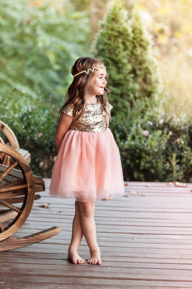 074ad81d9 Ready to Ship- Light Coral & Gold Sequin Cap Sleeve Dress- Flower girl