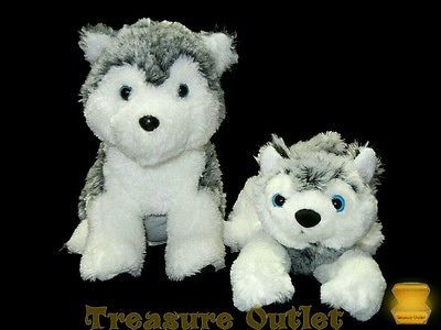Classic Toy Co. And Rhode Island Novelty Stuffed Plush Set Of 2 Husky Puppy Dogs