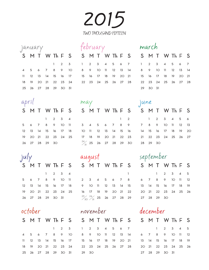 2015 Httplesliejerkins2014072015 One Page Calendar