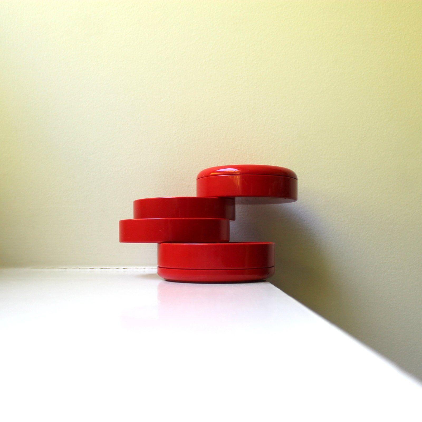 Vintage Mod Red Plastic Desk Office Organizer Jewelry Box Etsy Office Organization Interdesign Office Desk