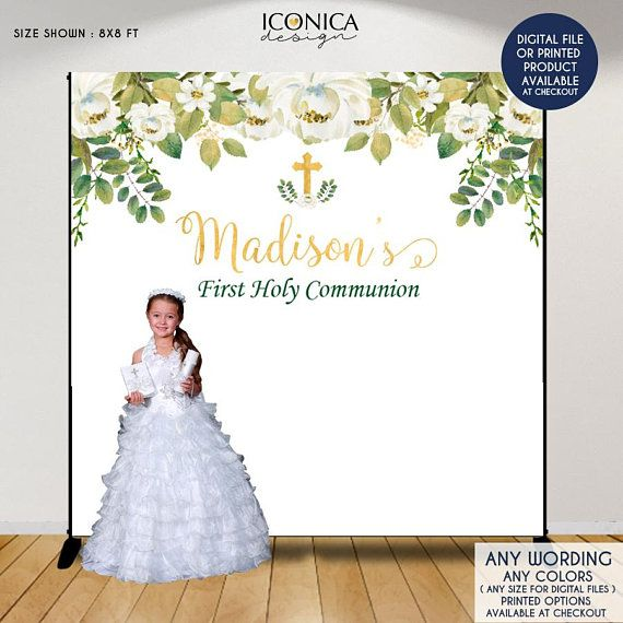 first communion backdrop greenery and white floral backdrop baptism backdropfloral photo backdrop printed or printable file bfc0011