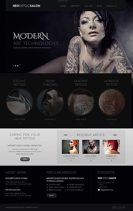 Wordpress Tattoo Salon 75 Responsivedesign Web Design Tattoo Und Piercing Design