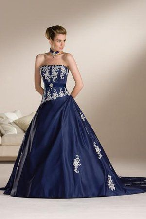 Navy Blue Chapel Length Train WD124 Classic Wedding Dresses | Blue ...