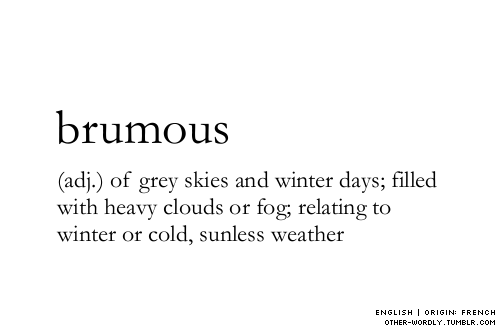 (adj.) of grey skies and winter days; filled with heavy clouds or fog; relating to winter or cold, sunless weather