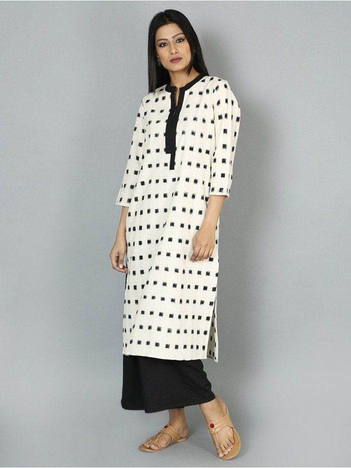 fb7bf521145 Off White Black Handloom Cotton Ikat Kurta | Kurtis / Tunics ...