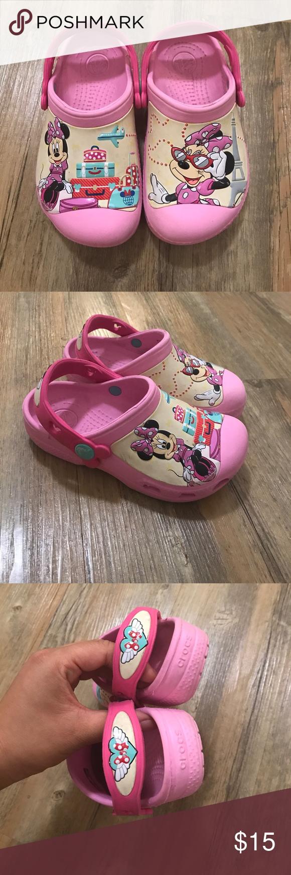 191af5f7dbdfa1 Disney Minnie Mouse crocs kids size 10-11 Worn multiple times. Very cute  pink Minnie Mouse crocs size 10-11 kids CROCS Shoes Sandals   Flip Flops