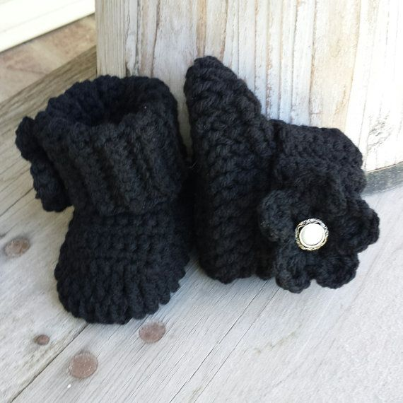 12e19951a8715 Crochet baby girl boots in black with black by MalindasDesigns ...