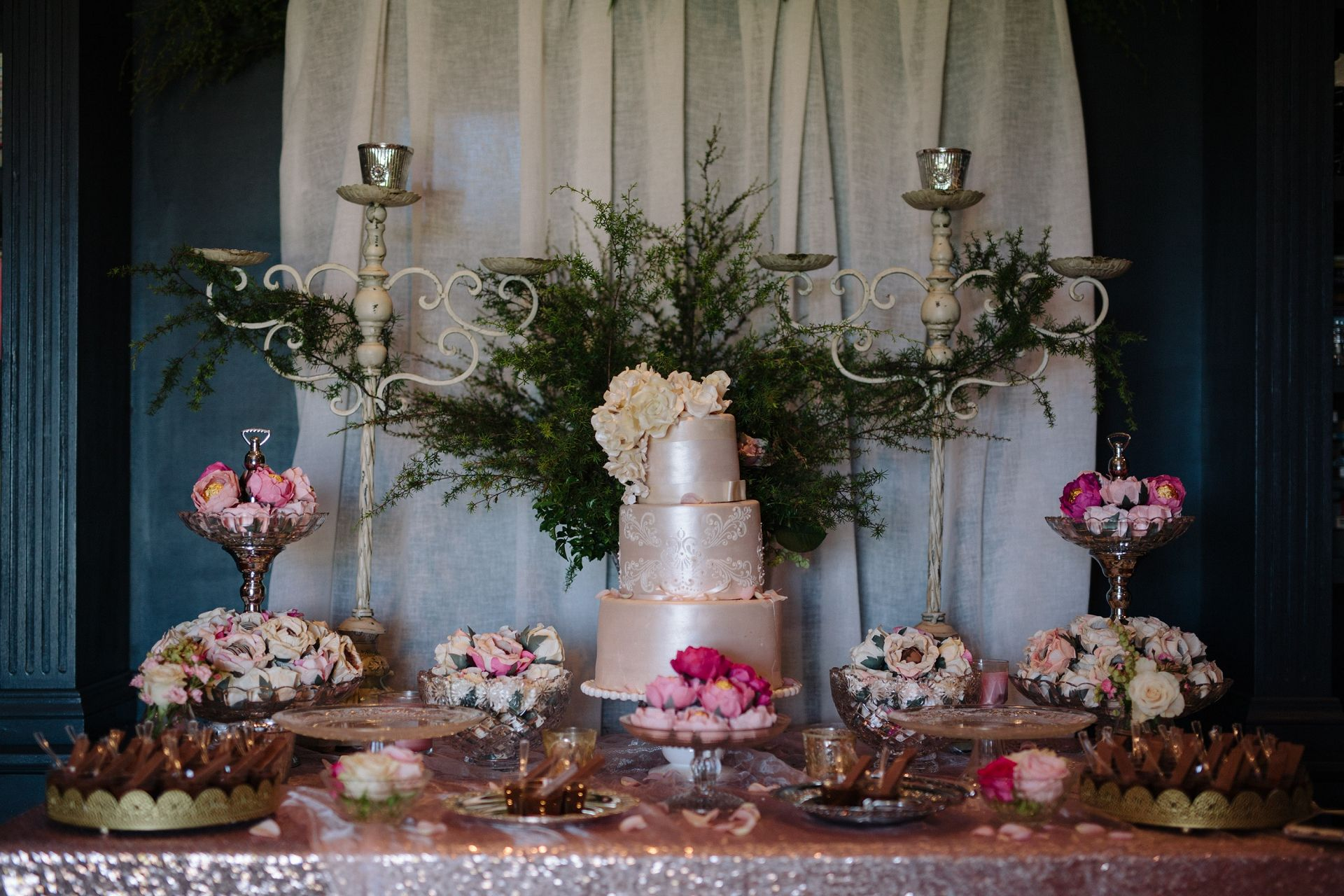 Dessert table with rose gold sequin tablecloth hire from www dessert table with rose gold sequin tablecloth hire from theprettypropshop junglespirit Gallery