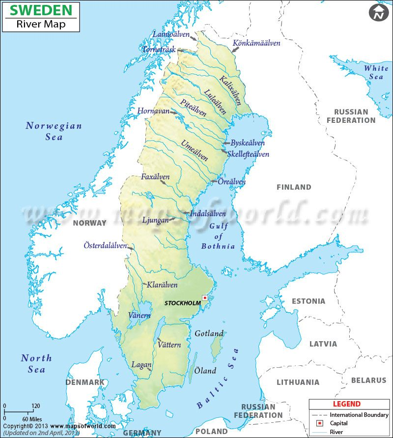 Sweden River Map River Map of Sweden Major Rivers and Lakes of