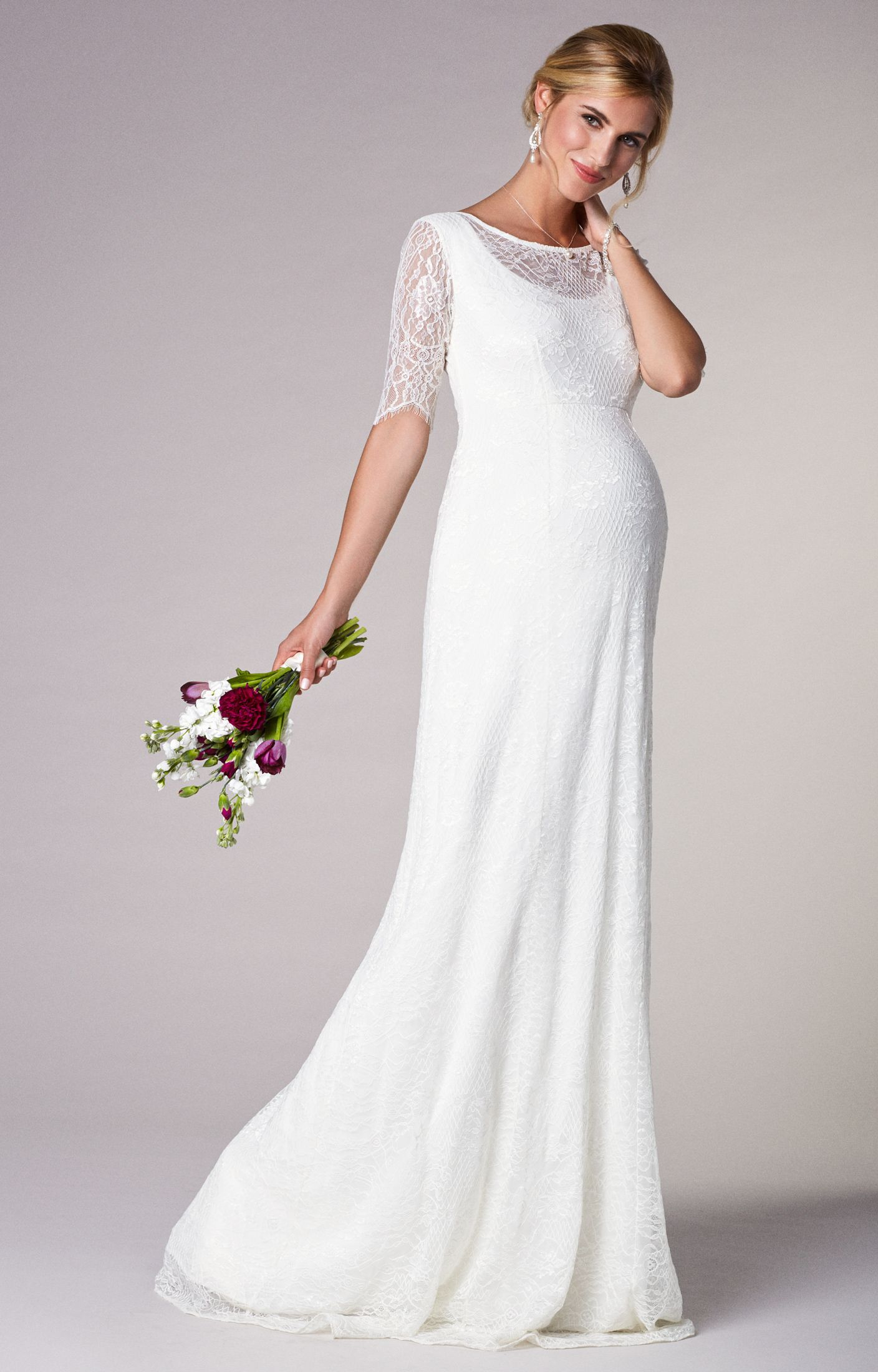 5c7a4bb89d3a Evie Lace Gown | maternity options | Pregnant wedding dress, Wedding ...