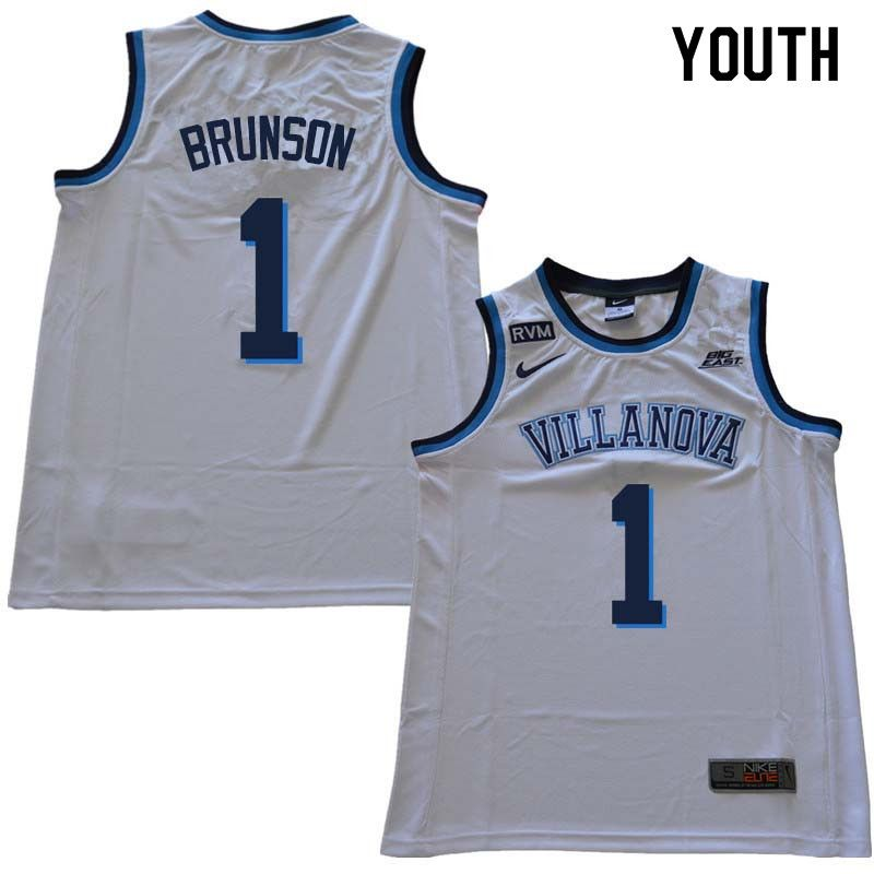 3f7f4bbca29e 2018 Youth  1 Jalen Brunson Willanova Wildcats College Basketball Jerseys  Sale-White