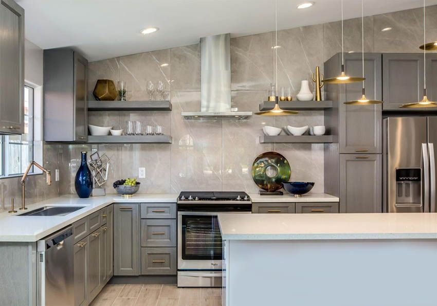 L Shaped Kitchen With Island Design Ideas Assembled Kitchen Cabinets Online Kitchen Cabinets Kitchen Bathroom Remodel