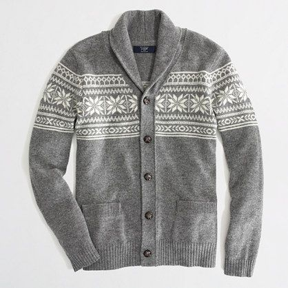 Factory lambswool Fair Isle shawl-collar cardigan - Lambswool ...