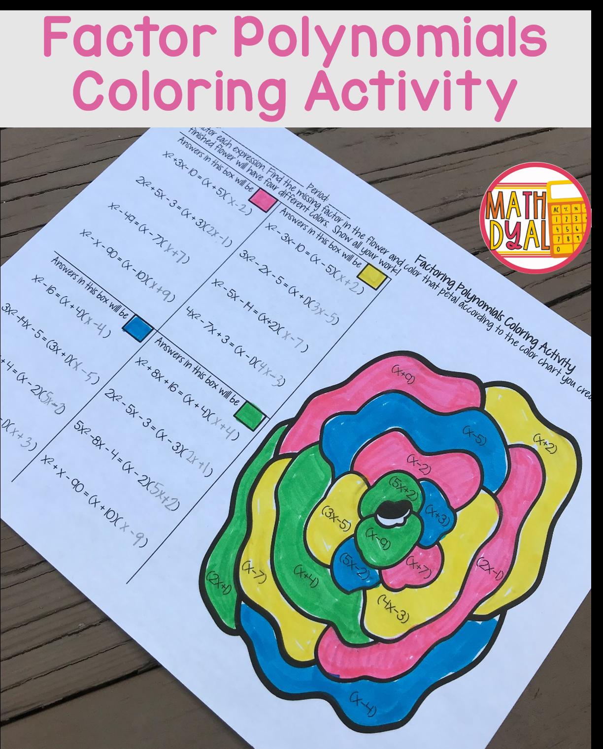 Factor Polynomials Coloring Activity Color Activities Polynomials Middle School Math [ 1522 x 1224 Pixel ]
