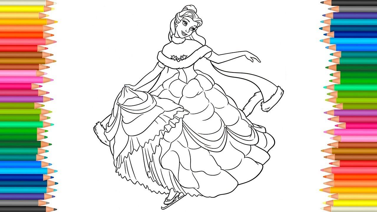 Belle Coloring Pages Disney Princess Coloring Book Videos For ...