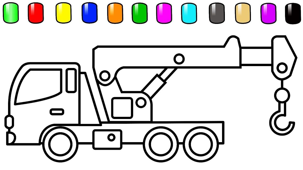 Crane Truck Coloring Pages Car And Construction Vehicles