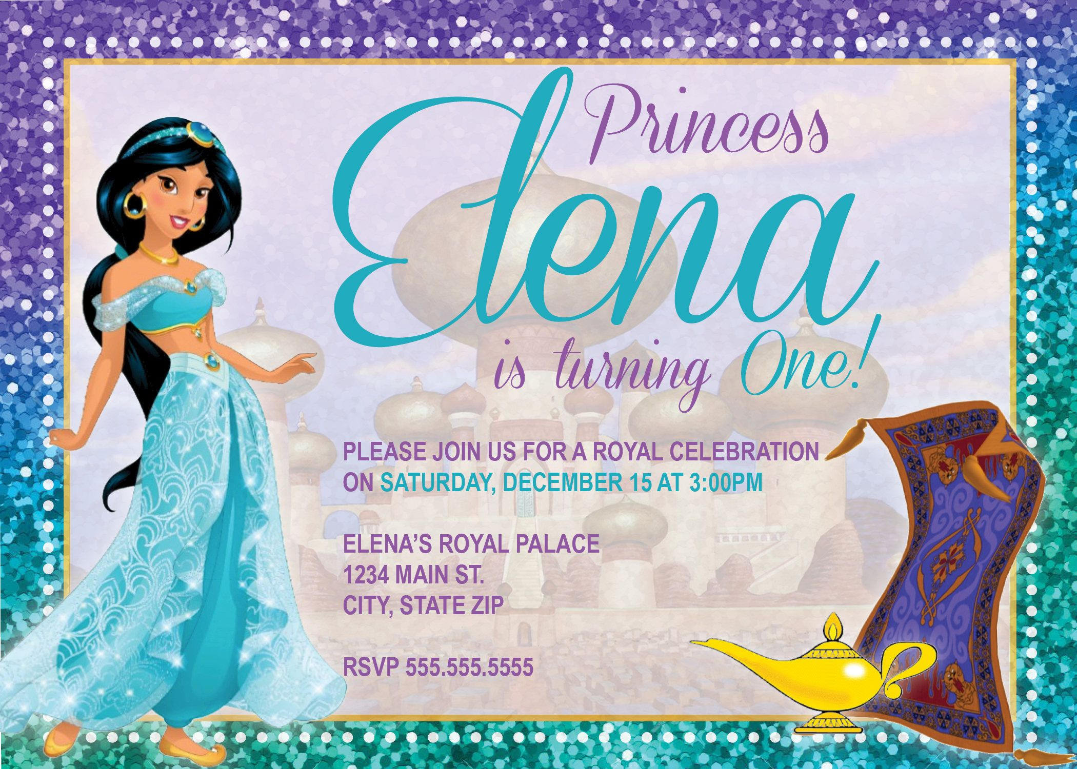 DIGITAL Princess Jasmine Birthday Party Invitation By NicolePartyDesigns On Etsy