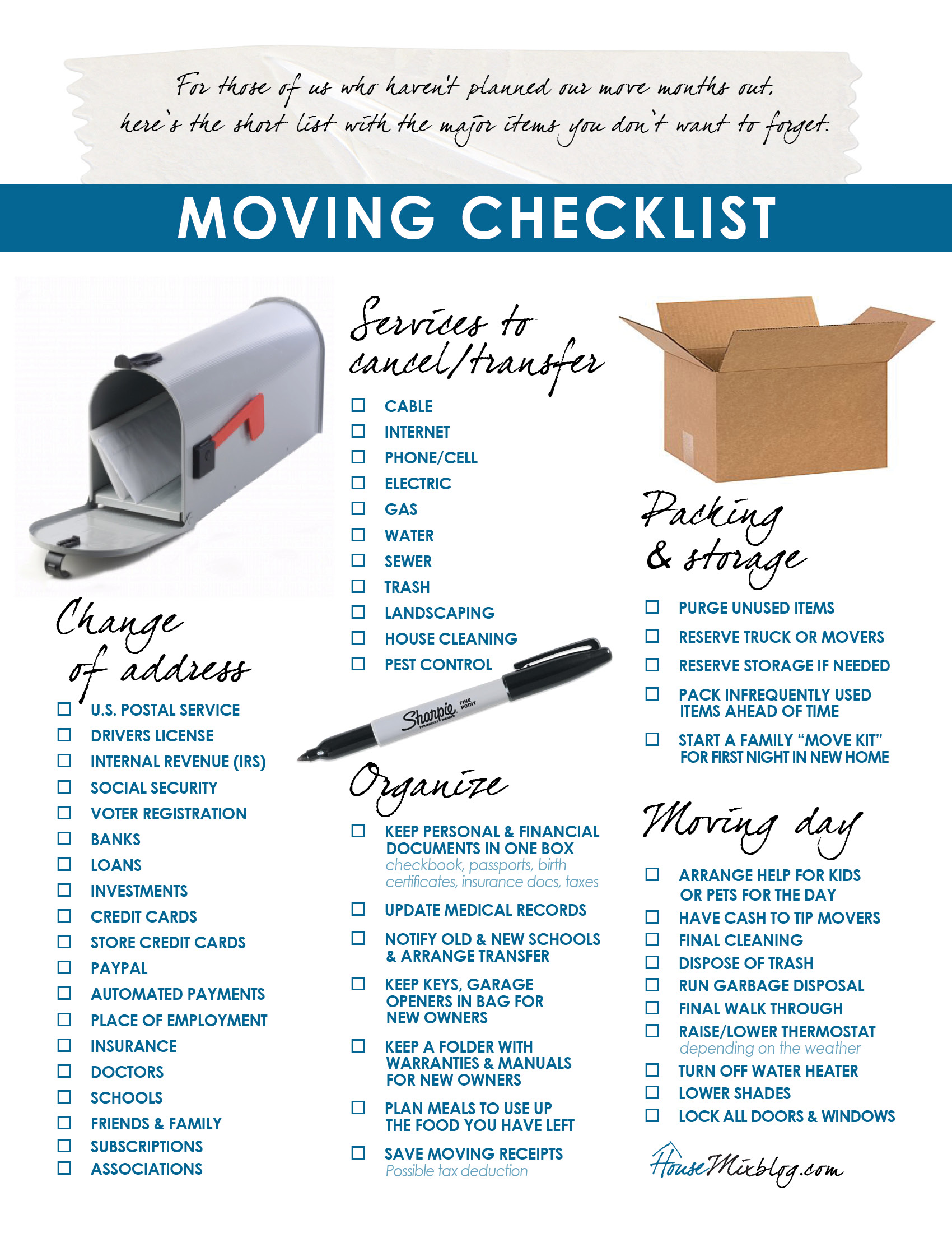 Moving Day Tips - Moving Day Checklist for your New Home
