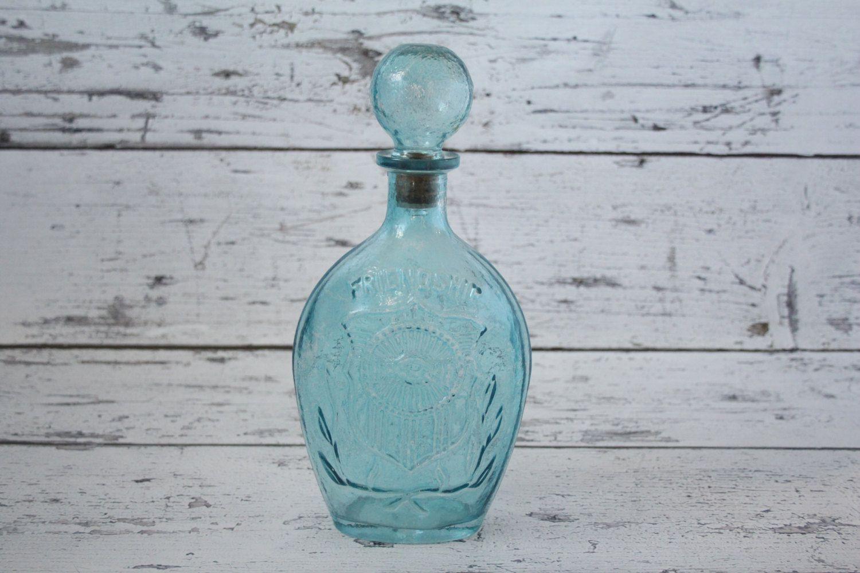 Vintage Blue Friendship Decanter Whiskey Bottle Cork Stopper ...
