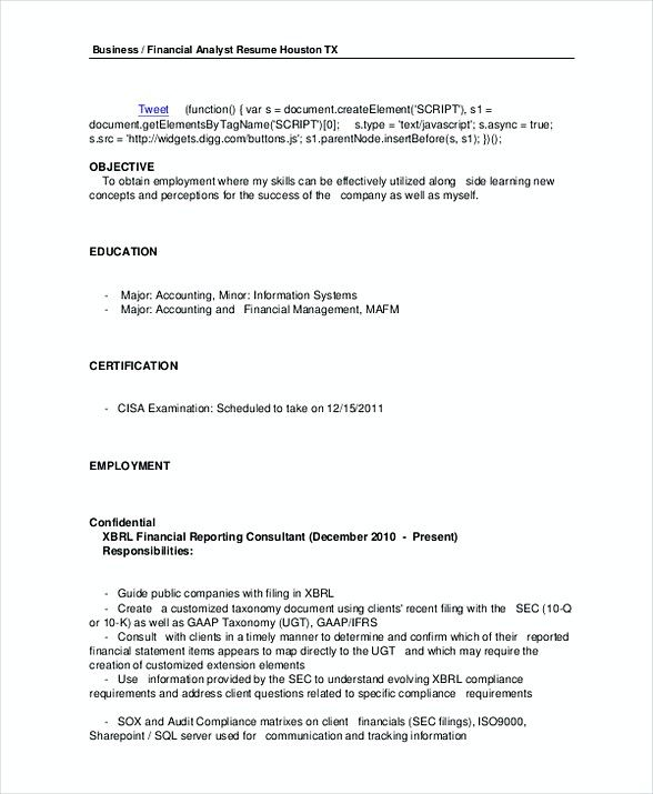 Business Financial Analyst Resume Template In Pdf  Financial