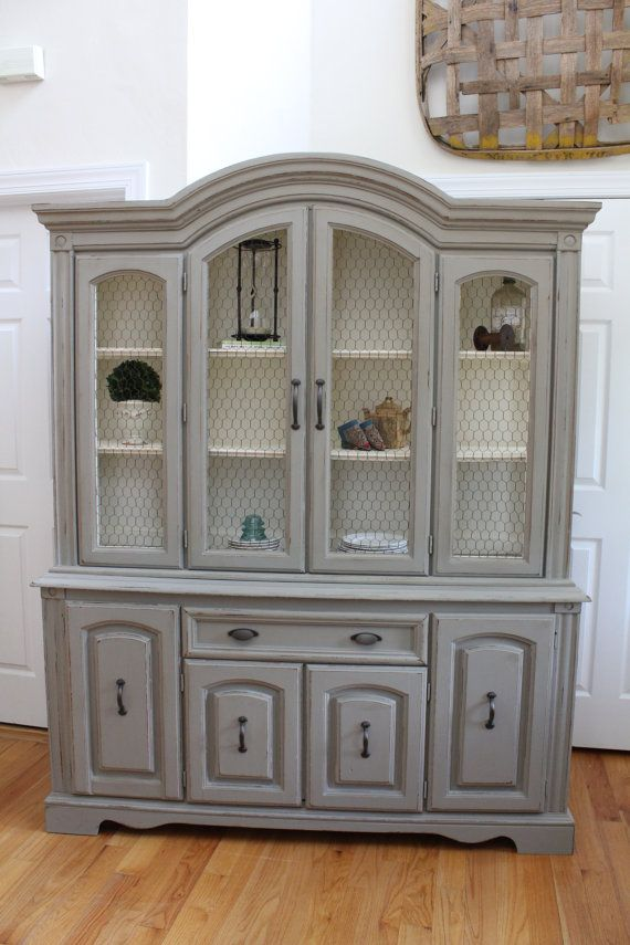 Vintage China Cabinet / Hutch U0026 Buffet With Chicken Wire   Annie Sloan  Chalk Paint   French Linen Old White