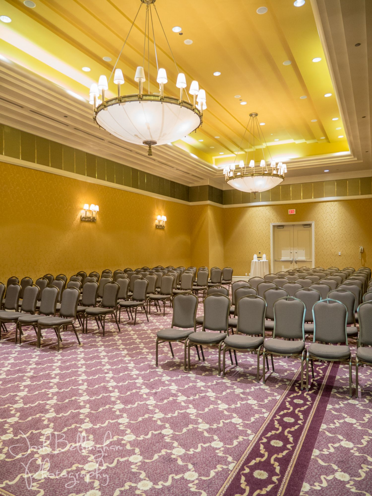 Preparation for a wedding in The Great Falls Ballroom in the Hilton ...