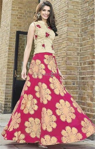 6d35f2cb3a Lovable Cream And Pink Art Silk Designer Ghagra Choli Design http://www.