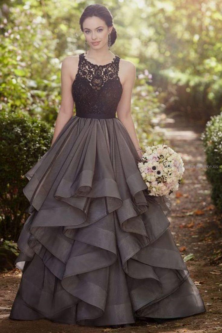 Beautiful grey lace organza prom dress, ball gown, formal dress 2017 ...