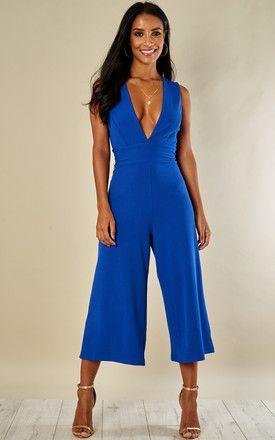 fdd09af5469 Cobalt Blue Deep V Culotte Jumpsuit
