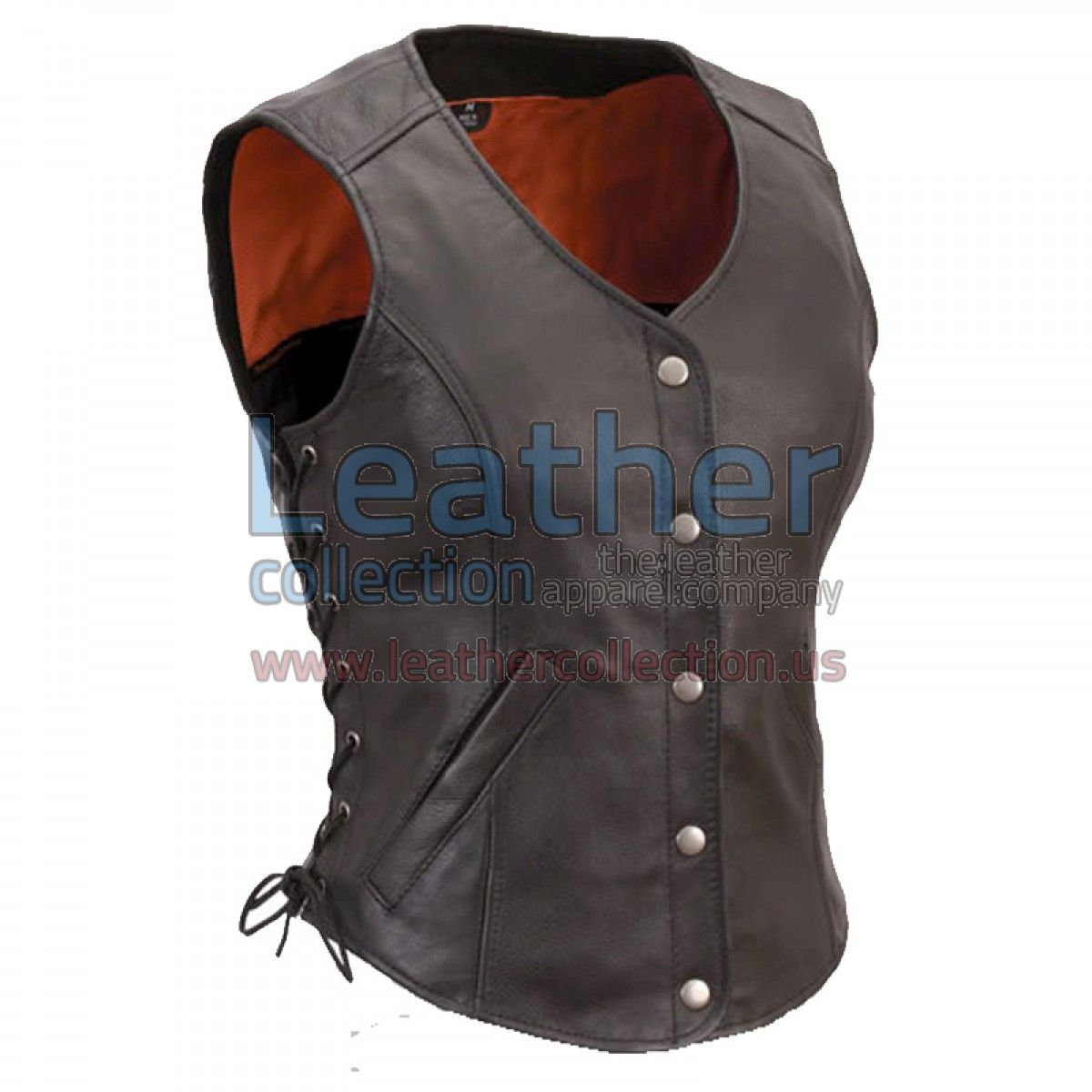 Long Length Motorcycle Vest with Side Laces, is made of Genuine Leather, it's a light weight fitted Leather vest for a sleek, Stylish, hot and polished look. Leather Vest features four Front Snap button, Leather Lace-up, Slip hand pockets, interior pockets and comes fully lined