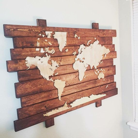 Wooden world map by theisingwoodwork on etsy beach house wooden world map by theisingwoodwork on etsy gumiabroncs Image collections