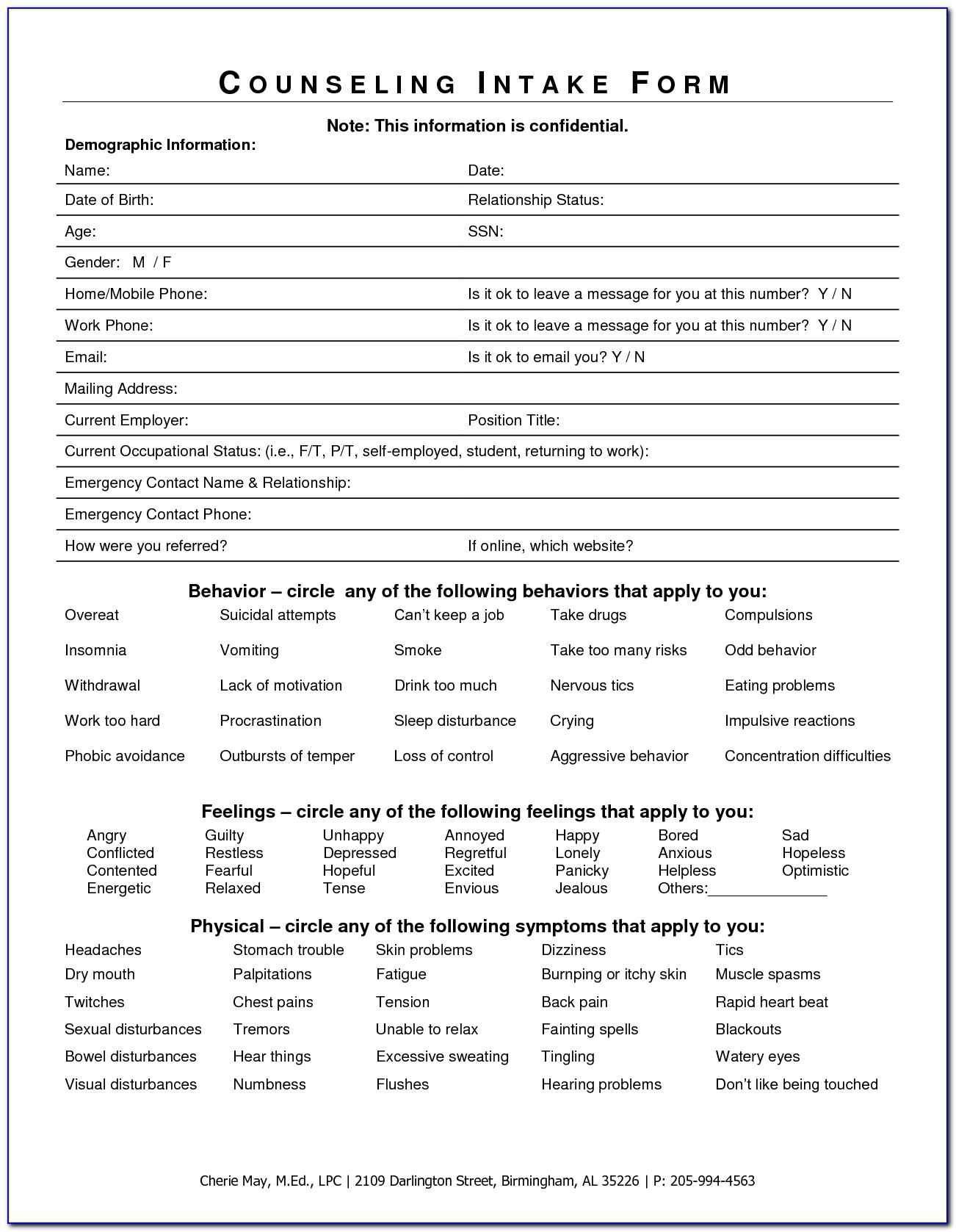 Sample Counseling Intake Forms In