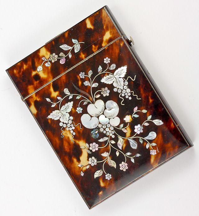 Victorian Tortoise Shell Card Case with Mother of Pearl Marquetry, Silver Stringing - Tortoiseshell