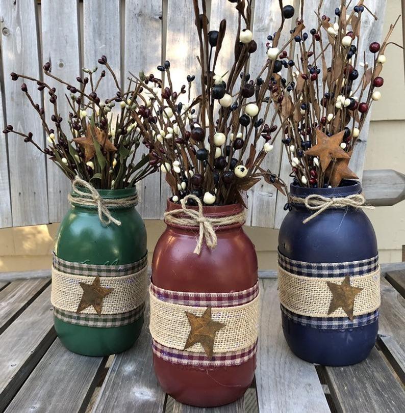 Primitive Star Mason Jar / Mason Jar Decor / Farmh