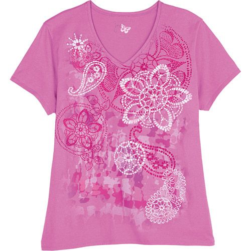 9004c5aaebd Just My Size by Hanes Womens Plus-Size Watercolor Graphic V-Neck Tee ...