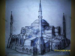 Ayasofya Camii Karakalem Cizim Tablolar Cizim Resim